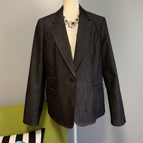 Nine West Denim Jean Tailored Blazer Jacket